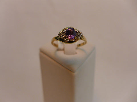 9Ct Gold Amethyst & Diamond AUGUST BIRTHSTONE Ring