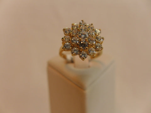 9Ct Gold Flower Cluster CZ Ring
