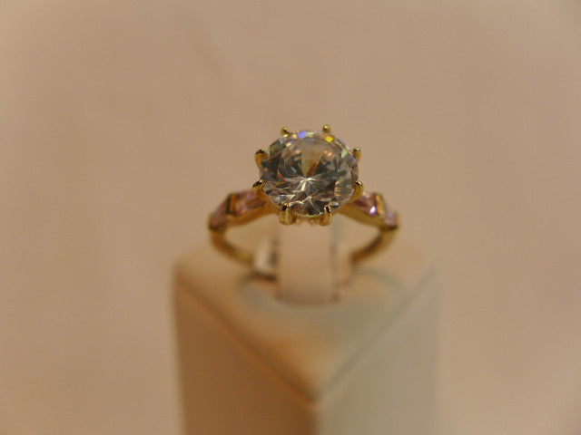 9Ct Gold Pink & White CZ Ring