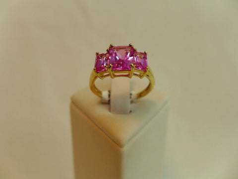 9Ct Gold 3 Stone Created Pink Sapphire Ring