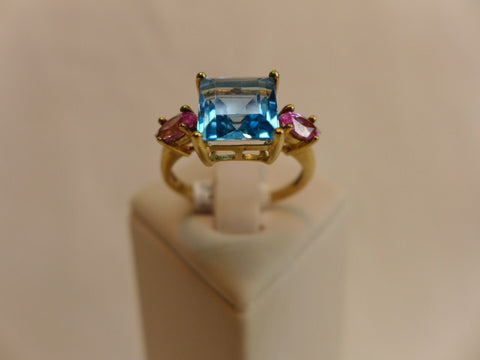 9Ct Gold Blue Topaz & Pink CZ Ring