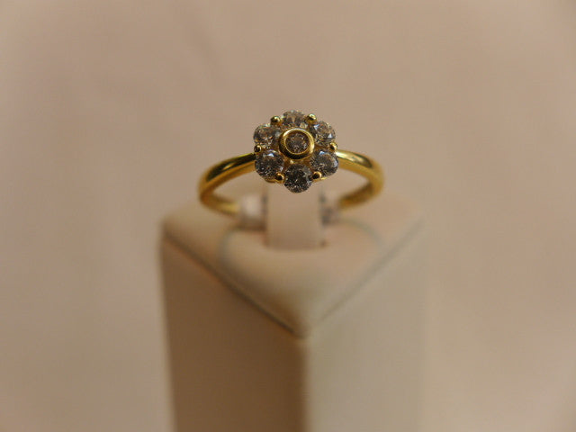 9Ct Gold CZ Flower Cluster Ring