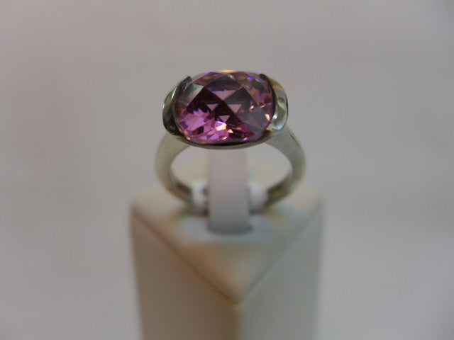 Sterling Silver Pink CZ Chunky Dress Ring