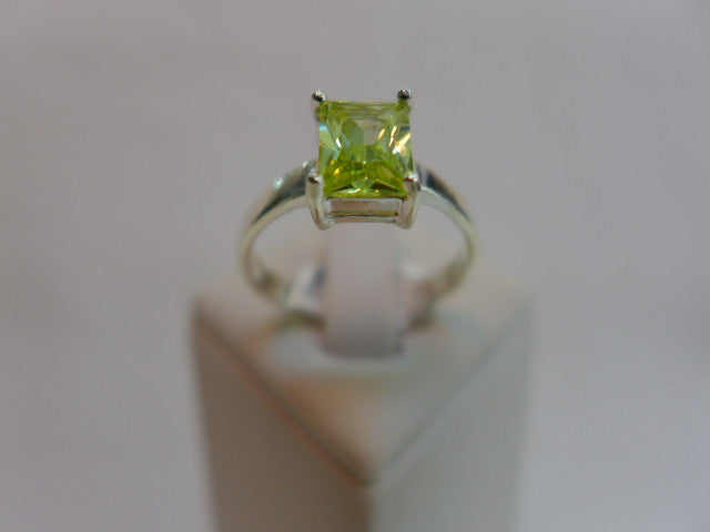 Sterling Silver Green CZ Dress Ring