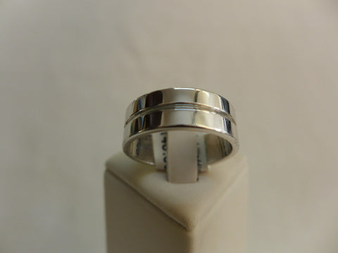 Men's Sterling Silver Faceted Wedding Ring