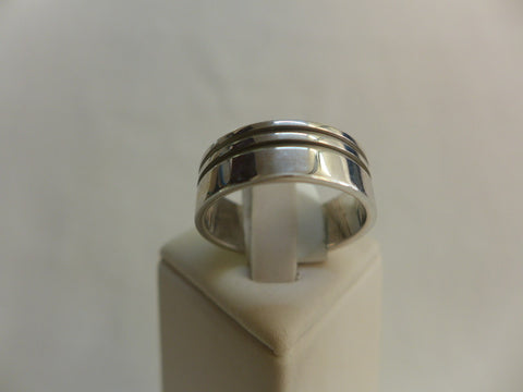 Men's Sterling Silver Double Faceted Ring