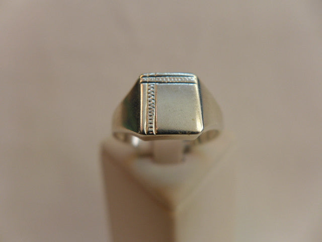 Men's Stg Silver Engraved Signet Ring