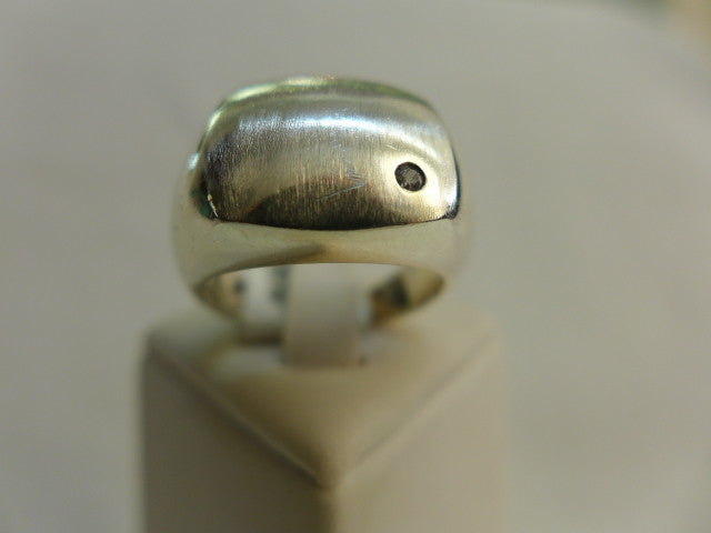 Men's Brushed Sterling Silver Ring w inset CZ