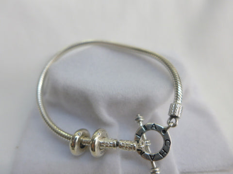 Chamilia T Bar Fastener Bracelet with 2 x Uptown Charms