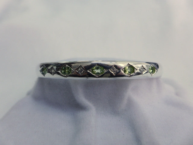 Sterling Silver Oval Bangle with Peridot and CZ