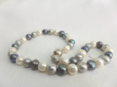Gray & White Pearl Necklace