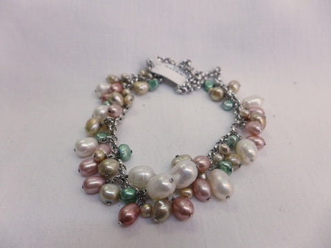 Multi Coloured Fresh Water Pearl & Sterling Silver Necklace