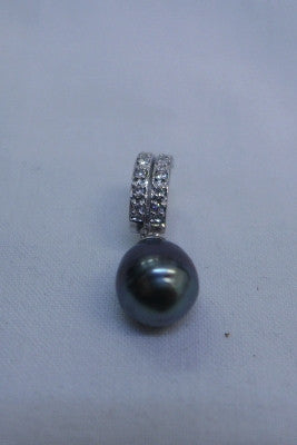 Sterling Silver CZ Enhancer with 10mm Tahitian Pearl Pendant