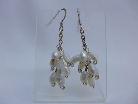 Sterling Silver White Pearl Chandelier Earrings