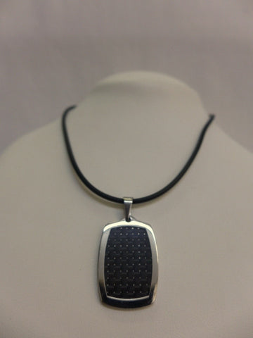 Stainless Steel & Carbon Fibre Pendant on Rubber Chain