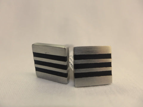 Gent's Steel Triple Stripe Cufflinks