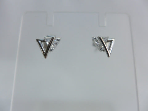 9Ct White Gold CZ Triangle Earrings