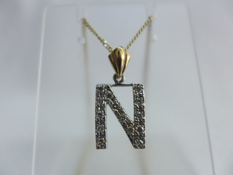 9Ct Gold Diamond Set 'N' Pendant and Chain