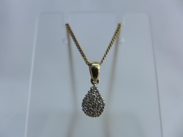 9Ct Gold Diamond Set Pendant with Chain