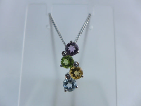 9Ct White Gold 4 Colour Stone Pendant + Chain