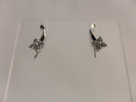 9Ct White Gold Diamond Flower Hook Earrings
