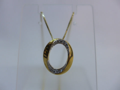 9Ct Gold Oval Set Diamond Pendant with Chain