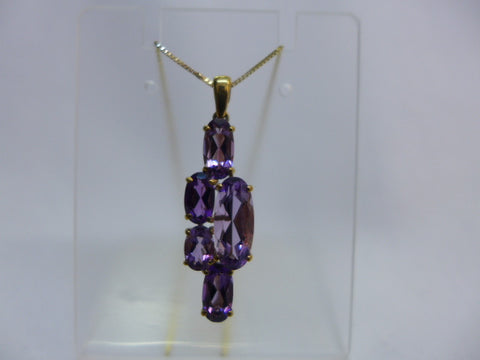 9Ct Gold 5 Amethyst Pendant with Chain