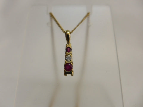 9Ct Gold Ruby & Diamond Pendant with Chain