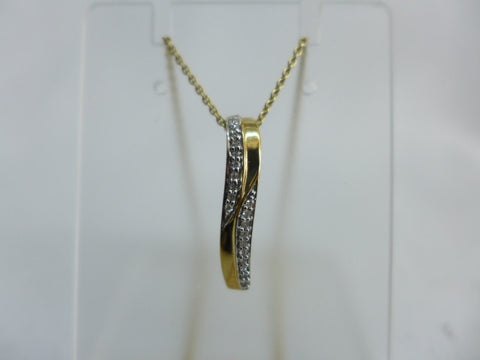 9Ct Gold Diamond Pendant w Chain