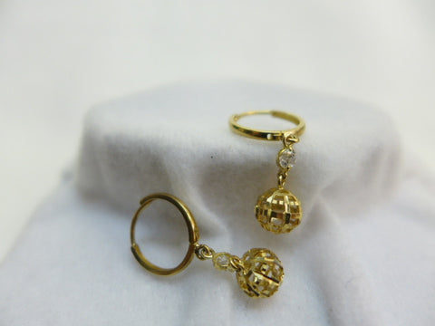 9Ct Gold Hoops w Open Ball CZ Drops