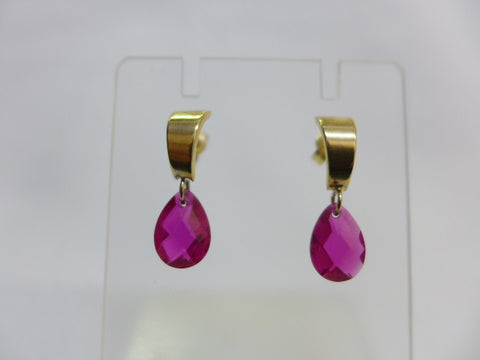 9Ct Gold Red CZ Earrings
