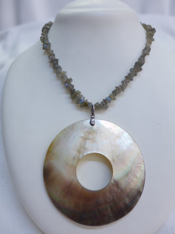 Mother of Pearl Disc Pendant on Stone Necklace