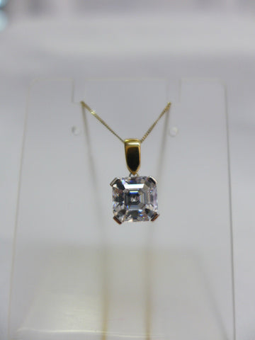 9Ct Gold Square CZ Pendant with Chain