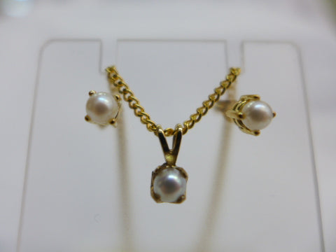 9Ct Gold Pearl -June Birthstone Earring and Pendant Set