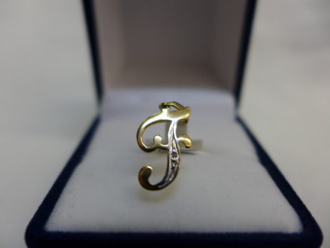 9Ct Gold Diamond Initial F Pendant