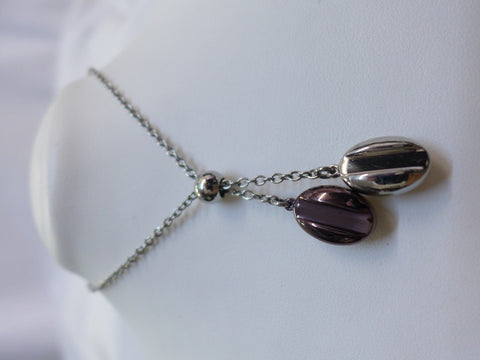 Coffee Steel Necklace w Brown & White Steel Pendant