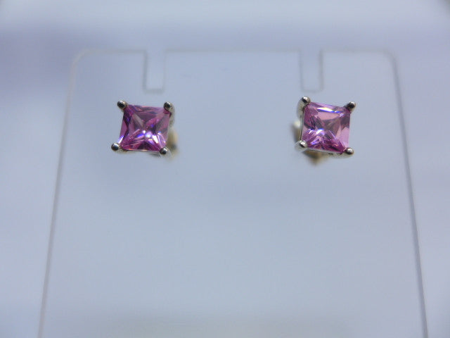 Sterling Silver 5mm Square Pink CZ Studs
