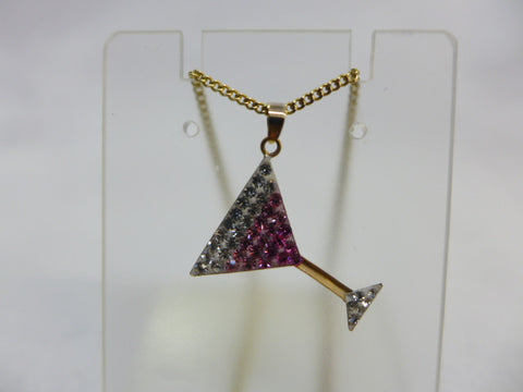 9Ct Gold Martini Glass Pink & White CZ Pendant w Chain