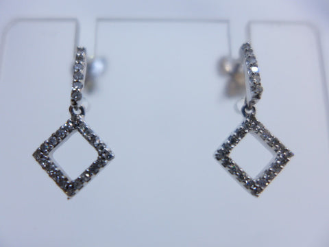 9Ct White Gold Square Diamond Drop Earrings