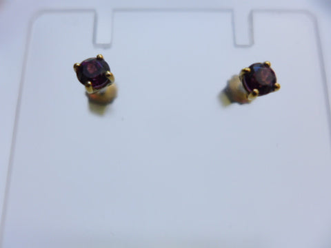 9Ct Gold Rhodalite Garnet 3mm Studs