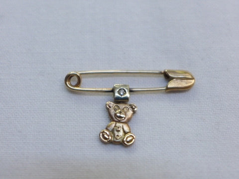9Ct Gold Teddybear Diamond Pin