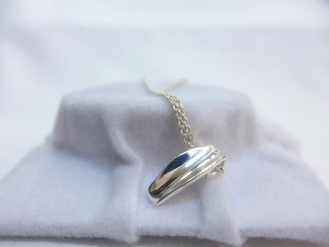 Sterling Silver Concave Pendant w Cable Chain