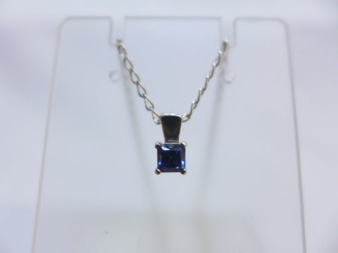 Sterling Silver Blue CZ Square Pendant w Chain