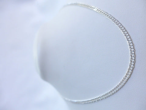 Sterling Silver Double Diamond Cut Curb 40cm Chain