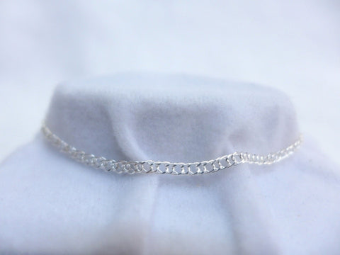 Sterling Silver Double Diamond Cut Curb 19cm Bracelet