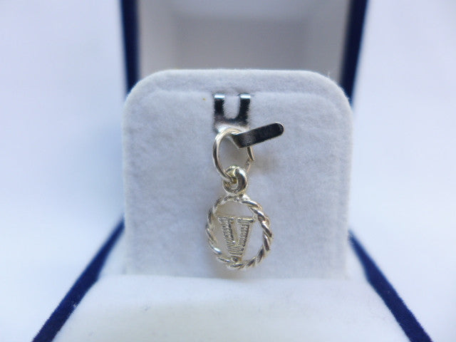 Sterling Silver Small Bold Letter V in Circle Charm