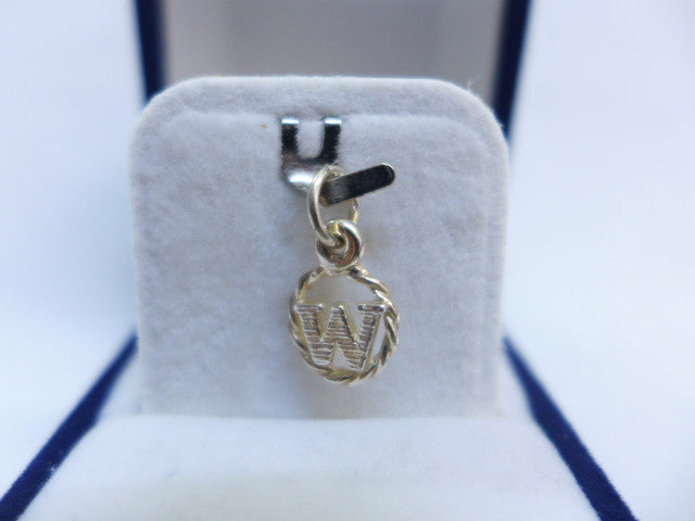 Sterling Silver Small Bold Letter W in Circle Charm