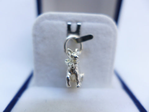 Sterling Silver Cat with Neck Bow Charm