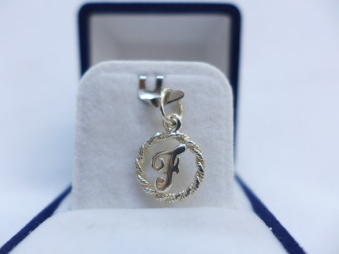 Sterling Silver Letter F in Rope Circle Charm
