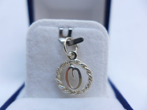 Sterling Silver Letter O in Rope Circle Charm